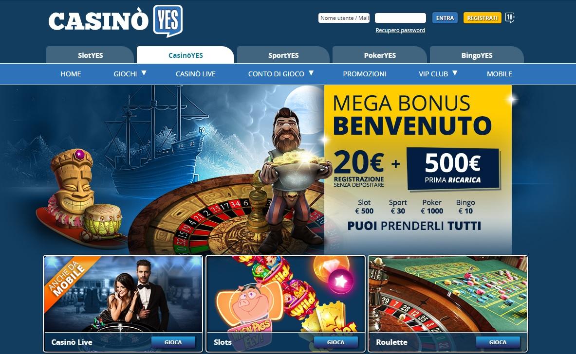 MEGA BONUS BENVENUTO di CasinoYES